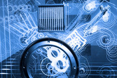 Engine model. Modern automotive v6 engine conceptual model Stock Photo