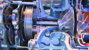 Engine. Model of gas turbine engine planes in the section stock video