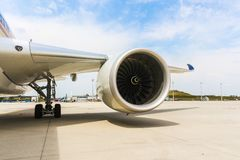 Engine of modern passenger jet airplane. Rotating fan and turbine blades. A Engine of modern passenger jet airplane. Rotating fan and turbine blades stock photo