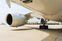 Engine of modern passenger jet airplane. Rotating fan and turbine blades. A Engine of modern passenger jet airplane. Rotating fan and turbine blades stock photos