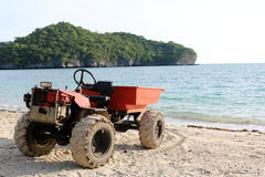 Engine modified adapted to a small truck on the beach. Royalty Free Stock Photos