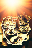 Engine of motorcycle with gears and shiny light Stock Photos