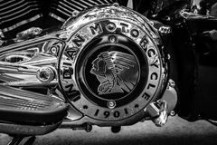 Engine of motorcycle Indian Chieftain. BERLIN - JUNE 05, 2016: Engine of motorcycle Indian Chieftain. Black and white. Classic Days Berlin 2016 royalty free stock photos