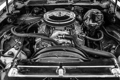 Engine of a muscle car Chevrolet Camaro Stock Images