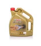 Engine oil Castrol Edge on a white background. Studio photo. Stock Photo