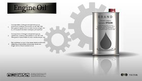Engine oil in an iron jar on a white background with a gear stock illustration