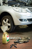 Engine oil replacement Stock Image