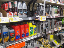Engine oil for sale in a store. Royalty Free Stock Photos
