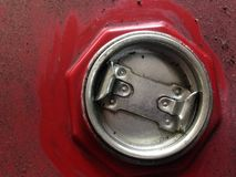 Engine oil tank cap. The oil tank lid is dirty. stock image