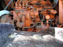 Engine of old italian crawler tractor Royalty Free Stock Images