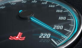 Engine overheating control. Coolant warning light in car dashboad. 3D rendered illustration Royalty Free Stock Photo