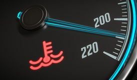 Engine overheating control. Coolant warning light in car dashboad. 3D rendered illustration Royalty Free Stock Image