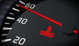 Engine overheating control. Coolant warning light in car dashboard. 3D rendered illustration. Close up view Royalty Free Stock Photography