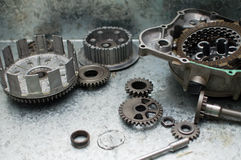 Engine Parts. Parts of a motorcycle, disassembled for maintenance Stock Photo