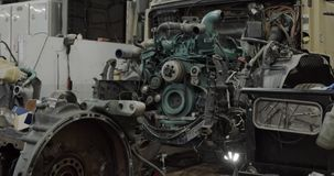 Engine parts. Big truck, disassembled in repair service