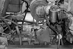 Engine parts and components. Black and white Stock Photo