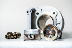 Engine Parts : piston, camshaft and cylinder. Royalty Free Stock Photography