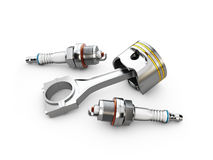 Engine piston and spark plugs, isolated white, 3d illustration. Engine piston and spark plugs, isolated white. 3d illustration Stock Photos