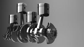 Engine pistons and cog. 3D image Royalty Free Stock Image
