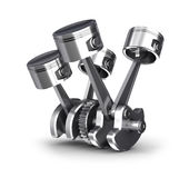 Engine pistons and cog. 3D image Stock Photo