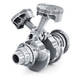 Engine pistons and cog. 3D image. White background Royalty Free Stock Photos