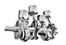 Engine pistons and cog. Engine pistons and cog on white background. 3D image Stock Image