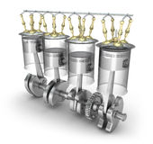 Engine pistons, injectors, valves and cog Stock Images