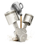Engine pistons and motor oil Stock Photos
