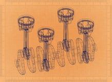 Engine pistons - Retro Blueprint. Shoot of the engine pistons - Retro Blueprint Royalty Free Stock Photography