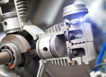 Engine pistons in a section, are visible internal details Royalty Free Stock Images
