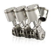 Engine pistons. On white background. 3d render Stock Images