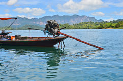 Engine power of motor boat. In the lake of Thailand royalty free stock photography