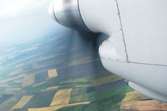 Engine and propeller. Of the plane Stock Photography