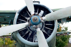 Engine propeller airplane. Royalty Free Stock Photos