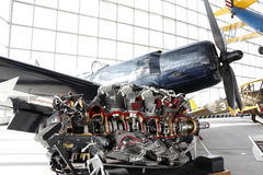 Engine of the propeller fighter airplane Royalty Free Stock Images