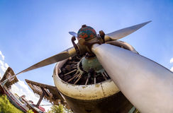Engine and propeller of vintage aircraft Royalty Free Stock Photography
