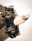 Engine and propeller of vintage airplane Royalty Free Stock Photo