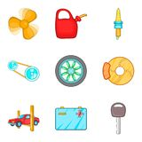 Engine repair icons set, cartoon style Royalty Free Stock Photos