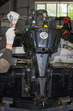 Engine repair service station Stock Photos