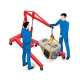 Engine replacement, car service workers work. With special equipment Royalty Free Stock Images