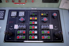 Engine room console control panel on tanker . Royalty Free Stock Image