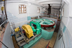 Engine room of the gateway of the shipping channel with great ge Royalty Free Stock Photo