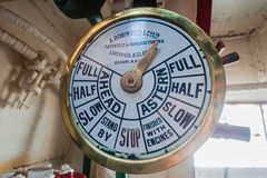 Engine Room Operation Gauge Commands. Operation gauge commands from pilot captain upstairs to engineer in engine room of a small steam tug harbor vessel with all Royalty Free Stock Photography