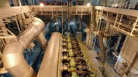 Engine room space and main engine of large vessel stock video