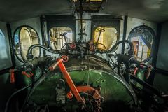 Engine room of a steam locomotive. Engine room - detail of a steam locomotive Stock Photo