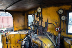 Engine room of steam locomotive Royalty Free Stock Photo