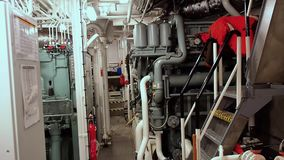 Engine Room of tug AHTS stock video footage