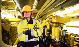 Engine room worker Royalty Free Stock Image