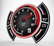 Engine RPM gauge. 3D illustration. Royalty Free Stock Images