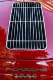 Engine's cooling vents of sports car Porsche 356 Speedster. BERLIN - JUNE 05, 2016: Engine's cooling vents of sports car Porsche 356 Speedster. Classic Days stock photography